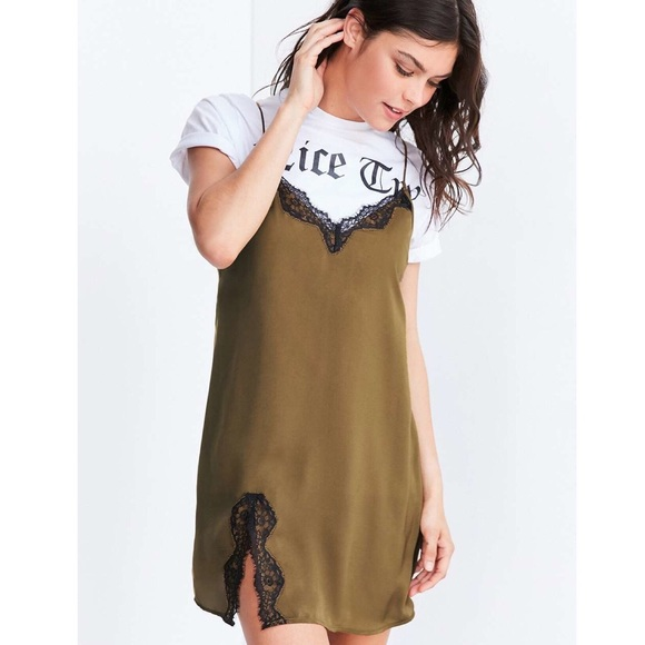 f1844a4ff057 UO Out from Under Satin Olive Green Slip Dress. M_5c744cbcbaebf60404099b9f